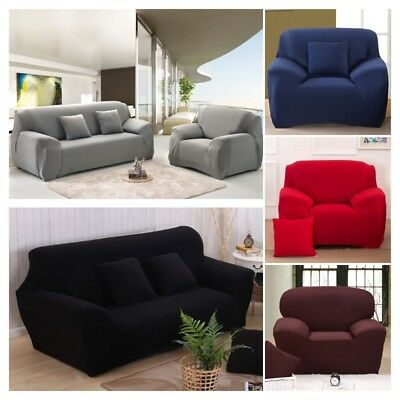 Soft Elastic Fabric Sofa Slip Over Cover Easy Fit Stretch Protector Couch Settee