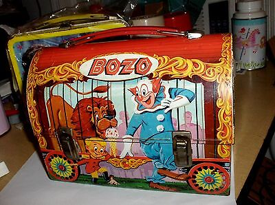 Bozo The Clown`1963`Aladdin Industries`Metal Dome Style Lunch Box->Free To US