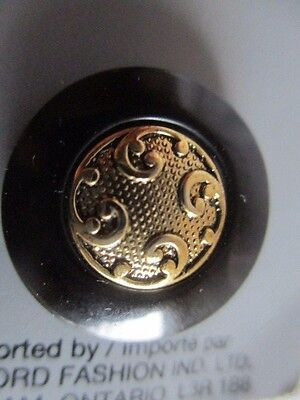 Two Vintage Tiffany Black Buttons with Gold Metal Detail in the Centre 20 mm