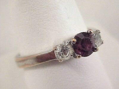 Vtg Purple Glass Silver Tone Ring Size 10.25