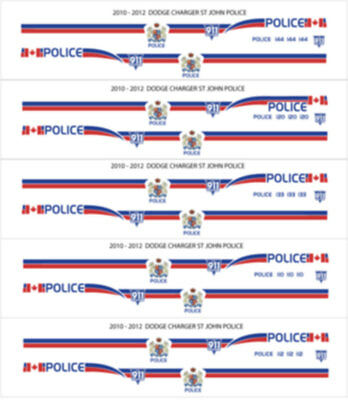 24 Scale Saint John New Brunswick Police Decals For 2012 Motormax Dodge Charger