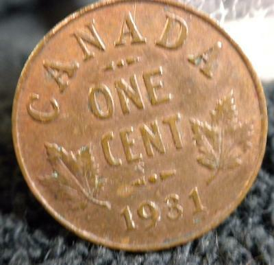 Key Date F/vf 1931 One Cent Canadian Canada Small Penny 1C World Coin
