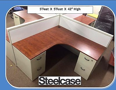 "Steelcase Cubicles 42"" High  5' x 5'  Open Plan System Furniture - Work Stations"