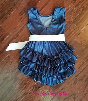 Boutique Baby Girl / Toddler Denim Ruffle Bubble Romper, Size 6 & 12 Months