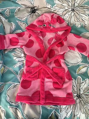 Mini Club Baby Girls Pink Dressing Gown / Robe 18-24 Months