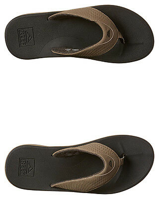 New Reef Men's Rover Thong Rubber Synthetic Leather Brown