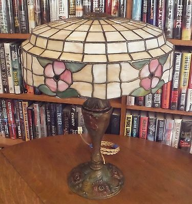 Antique Royal Co Leaded Stained Glass Lamp Miller Bradley & Hubbard Handel Style