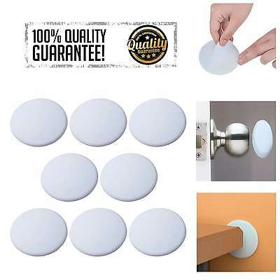 Bon Door Knob Wall Protector Shield Plates Round White Self Adhesive Guards  Stopper