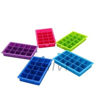 DIY 15 Cavities Silicone Mold Tool Jelly Ice Cube Tray Pudding Mould