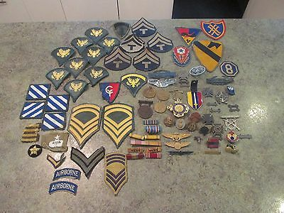 Vintage Military Lot of Patches, Medals, Pins, Bars, Etc. Calvary Army Airborne