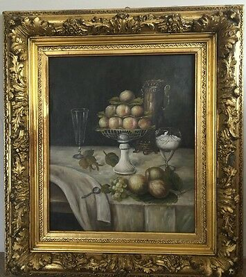 Antique Europian Still Life Oil In Canvas , Insigned , Size 59 X 49 Cm
