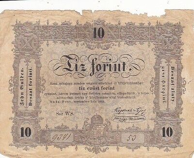 1848 Hungary 10 Forint Note, Pick S117