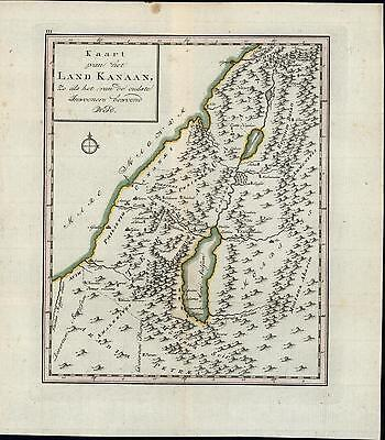 Land of Canaan Israel Palestine Holy Land c.1760-80 old Dutch antique map
