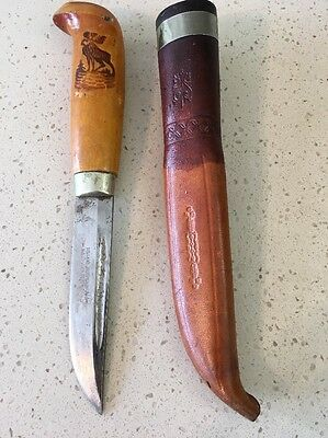 Vintage Iisakki Järvenpää Kauhava Hunting Knife & Leather Sheath Made In Finland
