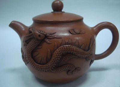 Rare Old Chinese Zisha Pottery Hand Carved Dragons Teapot Marked MengChen QA015