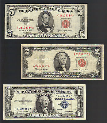 OLD MONEY $1 SILVER Blue Seal Certificate+ 2 & $5 Dollar US RED Seal Notes Bills