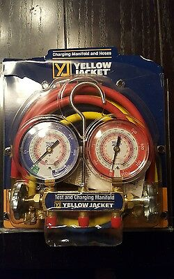 "yellow jacket 42004 manifold 3-1/8"" guages w/hoses r22/404a/410a"