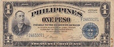 """1944 Philippines 1 Peso """"Victory"""" Note, Pick 94"""