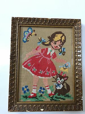 Vintage Needlepoint 1950s Needlework Framed Behind Glass $25 Free Post