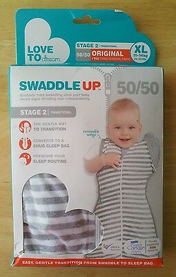 Love To Dream 50/50 Swaddle UP, Gray Stripe, X-Large 24-30.5 lbs, 9-12 Months