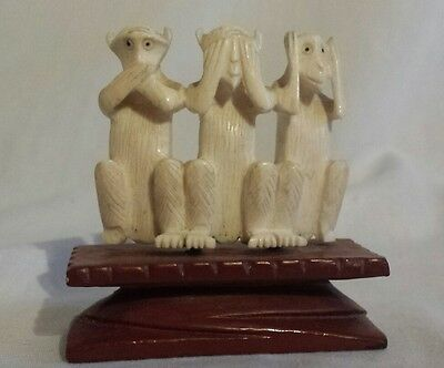 "Vintage ""see No Evil, Hear No Evil, Speak No Evil"" 3 Wise Monkeys Resin Figurine"