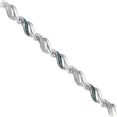 """1/3 ct.Blue and White Diamond April Birthstone 7"""" Bracelet in Sterling Silver"""