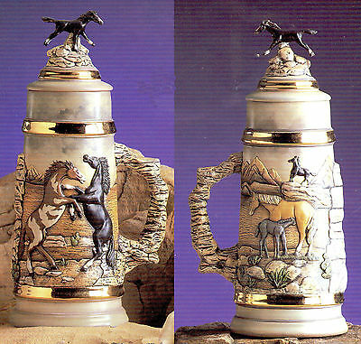 Ceramic Bisque Mustang - Wild Horse Stein Ready to Paint U-Paint Unpainted