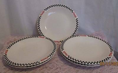 "Set Of 5 Gibson Coca-Cola Dinner Plates Black White Checkered Rim-10"" In Diamete"