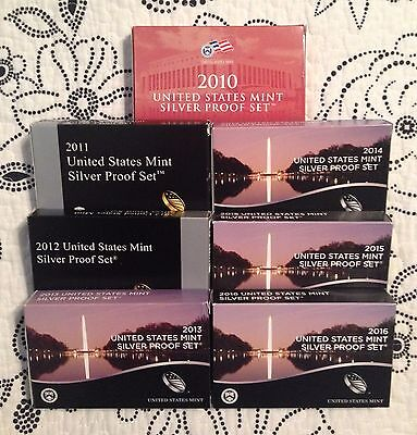 2010 Thru 2016 United States Mint Silver Proof Sets