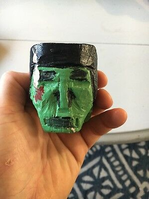 folk art Frankenstein head hand carved and painted
