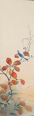 Japan Japanese inks on Silk Scroll Depiction Blue Bird on Branch ca. 20th c