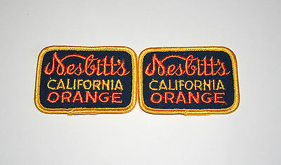 2 Vintage Nesbitt's California Orange Soda Advertising Cloth Patch New NOS 1960s