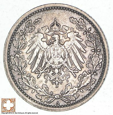 SILVER - 1918 Germany 1/2 Mark - World Silver Coin *608