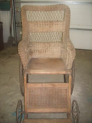Antique Victorian Wicker Wheel Chair