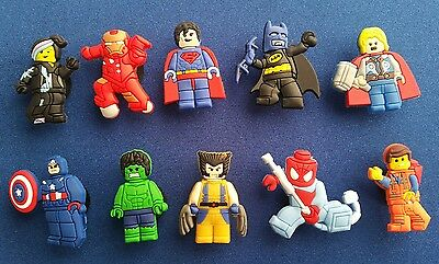 10 Pc Super Heroes Hulk Thor Lego Jibbitz Shoe Charms Cake Toppers Party Favors