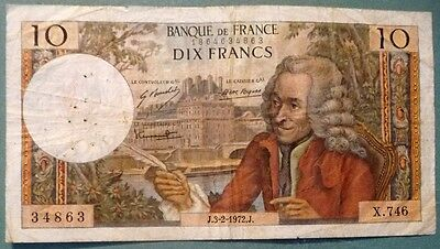 FRANCE 10 FRANCS, P 147 c , ISSUED 03.02. 1972, VOLTAIRE