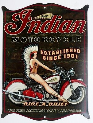 THE FIRST AMERICAN MADE MOTORCYCLE, INDIAN SINCE 1901 Metal tin Sign