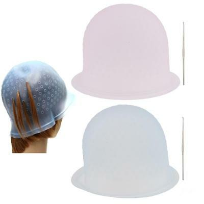 Reusable Silicone Dye Hat Hair Color Highlighting Hairdressing Cap + Hook