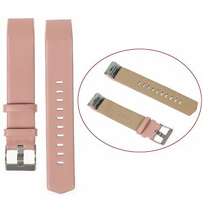 Genuine Leather Watch Band Wrist Strap Wristband for Fitbit Charge 2 AU -Pink