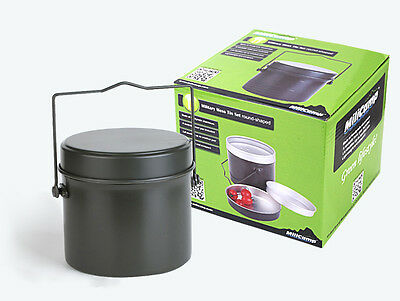 Round Army Military Mess Kit Camping Lunch Box Canteen Kettle Pot Food Cup Bowl