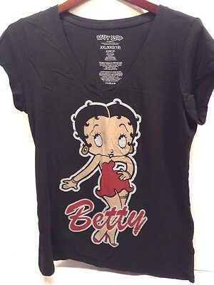 Betty Boop XXL (19) Shirt Junior Black V-Neck Shirt Cap Sleeve Cotton Top (390)