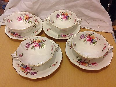 4 x Royal Crown Derby Posies Soup Coups Cups and Saucers
