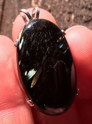 Powerful Hand Cut Ancient Nuummite Natural Flash Crystal Pendant Greenland