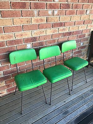vintage 3 x RETRO KITCHEN CHAIRS chrome frames GREEN VINYL SEATS/BACKS