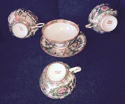 Antique Chinese Export Porcelain Saucer & 4 Tea Cups Late 1800's Qing Dynasty