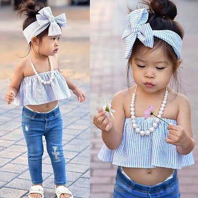 Toddler Kid Baby Girl Off Shoulder T-Shirt Crop Top + Jeans Pants Outfit Clothes