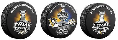 2017 Stanley Cup Final Puck Set Of 3 Dueling + Eastern Western Conference Champ