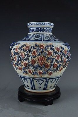 Chinese Manual painting Blue and white Red Glazed Porcelain Vase Pot tank