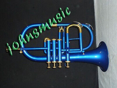 Flugelhorn 4Valve_Blue_Colored^bb/f_Pitch^w/case&mp Trumpet* Frenchhorn Flugle