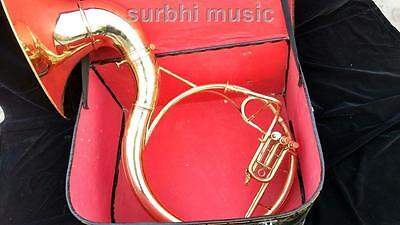"""Sousaphone 22"""" Gold Lacquer made of Pure Brass With Free Mouth Pc.& Case Box"""